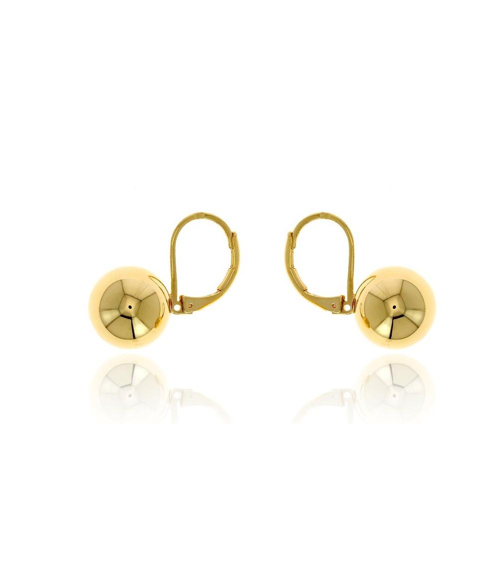 """Boucles d'oreilles en plaqué or, boule 8 mm, avec fermeture """"dormeuse"""""""