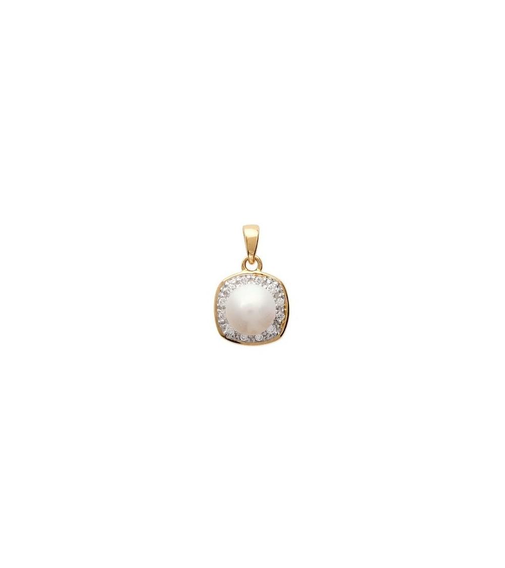 Pendentif seul carré en plaqué or avec perle synthétique et oxydes de zirconium (voir chaîne vendue séparément)