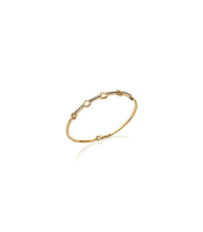 Bracelet  jonc en plaqué or orné de 5 petits ronds reliés entre eux par des barres serties d'oxydes de zirconium