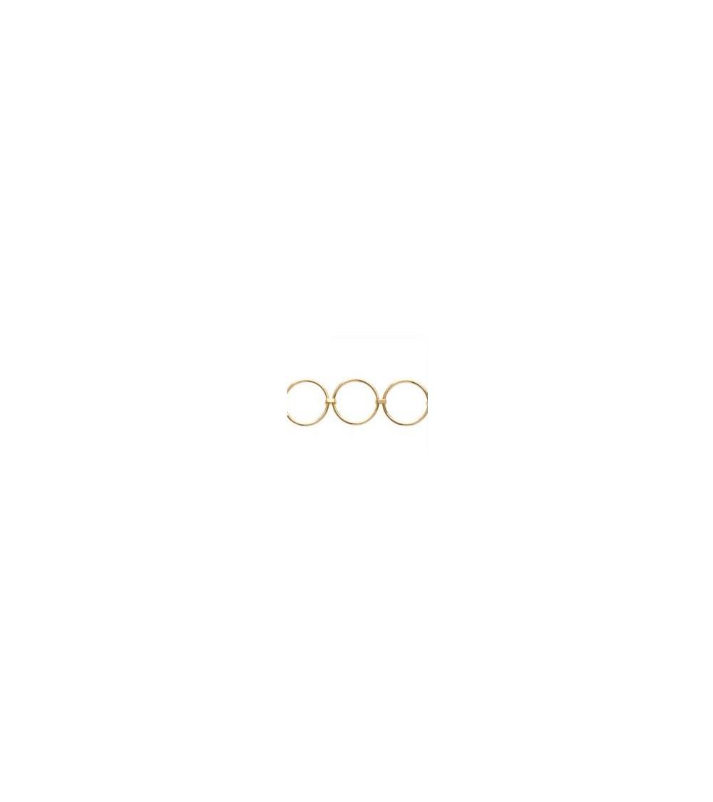 Bracelet en plaqué or avec 5 anneaux reliés ente eux, en longueur 18 cm ajustable à 16 cm