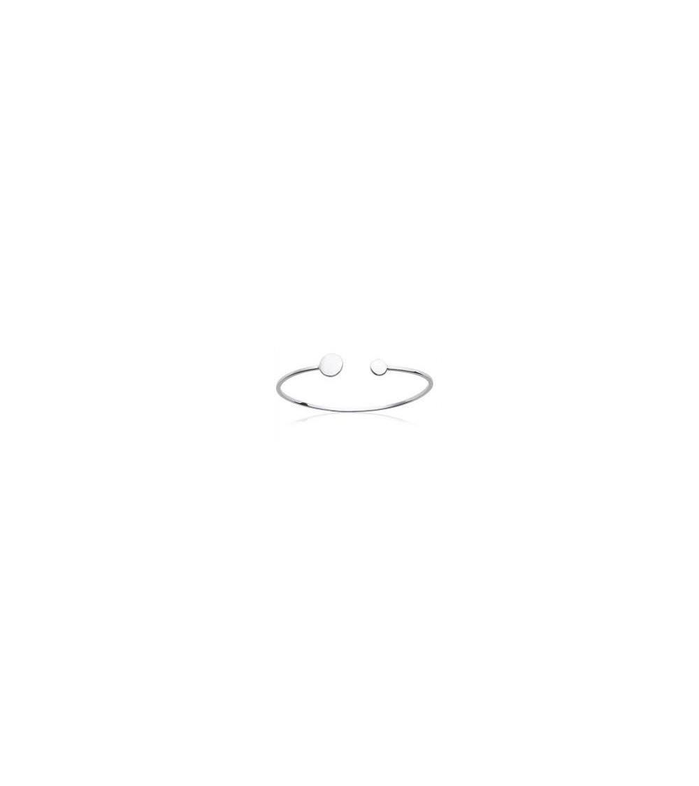 Bracelet ouvert en argent 925/1000 rhodié avec pastilles lisses à chaque extrémité