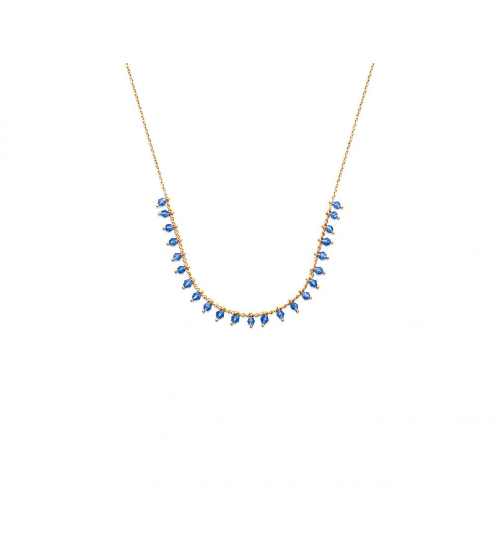 Collier en plaqué or avec pampilles en cristal bleu (longueur 42 cm)