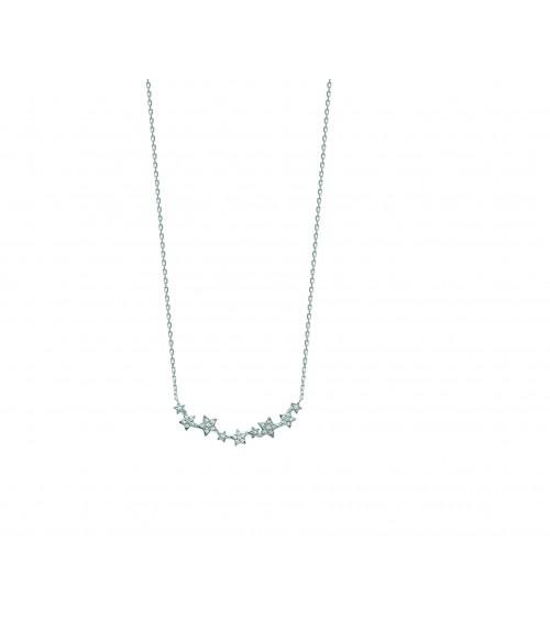 """Collier """"étoiles"""" en argent 925/1000  rhodié et oxydes de zirconium, en longueur 45 cm ajustable à 42 cm"""