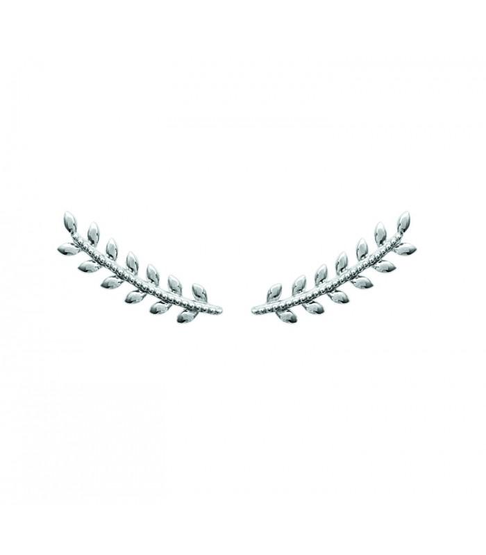 """Boucles d'oreilles """"contours d'oreilles"""" motif épi en argent 925/1000 rhodié"""