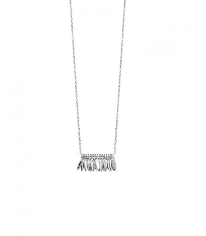 Collier en argent 925/1000 rhodié avec pampilles surmontées d'une barre sertie d'oxydes de zirconium