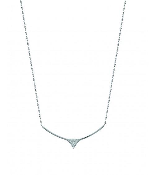 Collier en argent 925/1000 rhodié avec une pointe sertie d'oxydes de zirconium, en longueur 45 cm