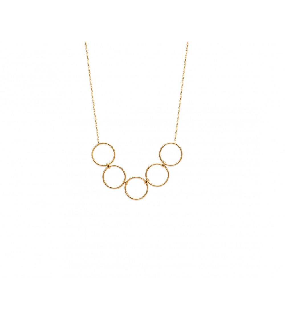 Collier en plaqué or avec 5 anneaux reliés entre eux, en longueur 45 cm ajustable à 42 cm et 40 cm