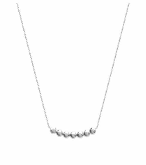 Collier en argent 925/1000 rhodié comportant 7 demi boules (longueur 45 cm réglable 42 cm,40 cm)