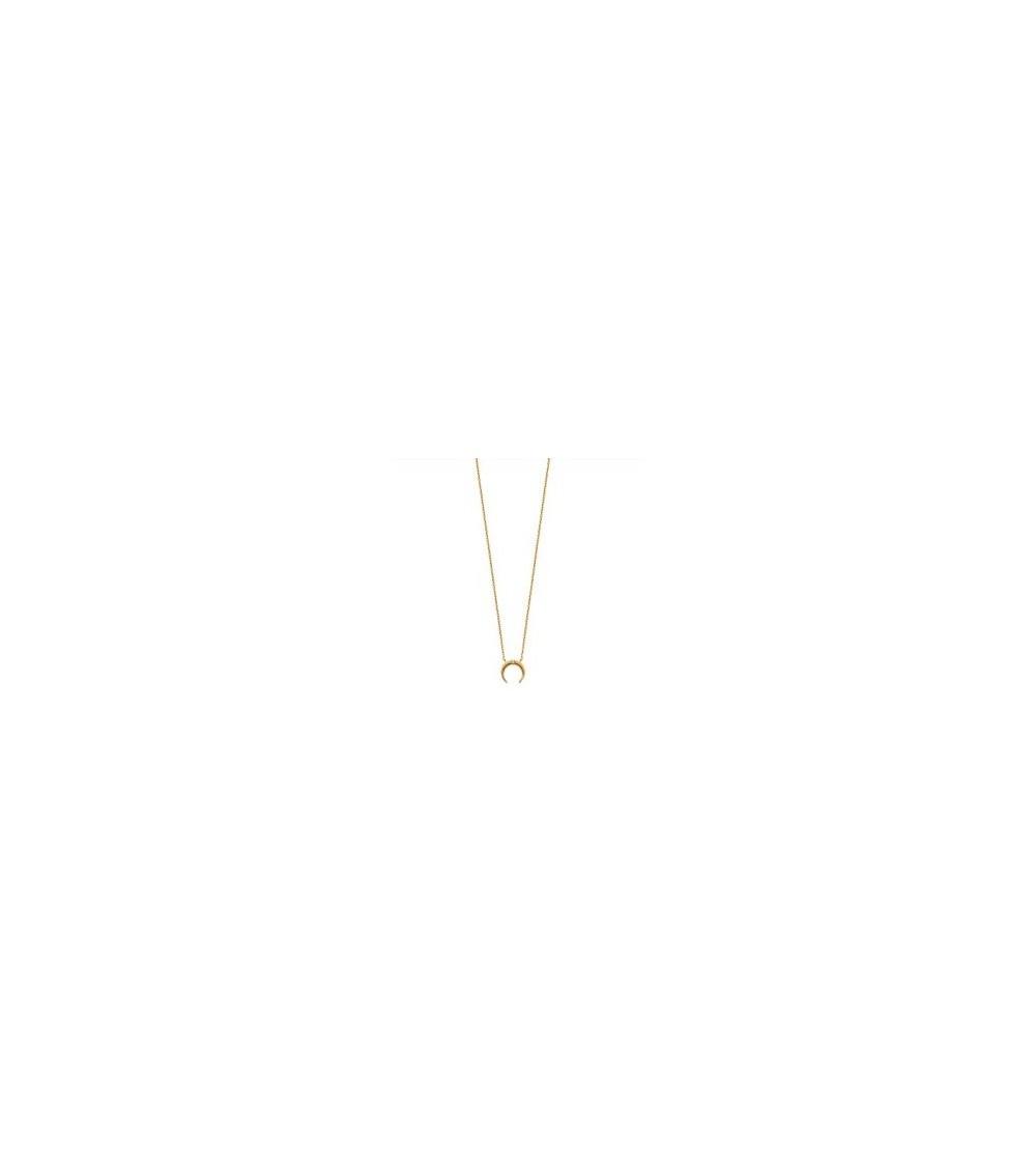 """Collier """"lune"""" en plaqué or et oxyde  de zirconium (longueur 45 cm ajustable)"""
