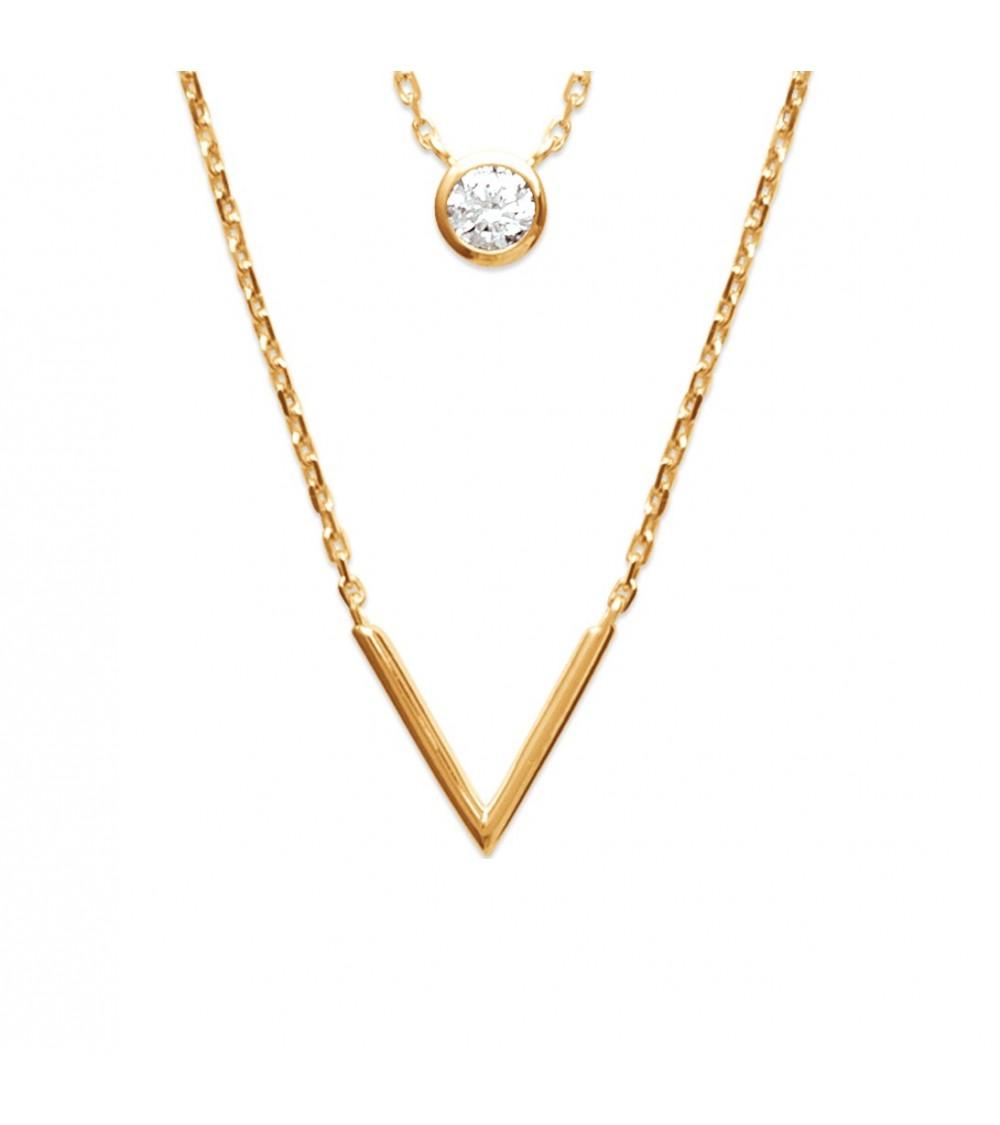 Collier double (2 en 1) en plaqué or avec motif V et oxyde de zirconium (longueur 45 cm ajustable)