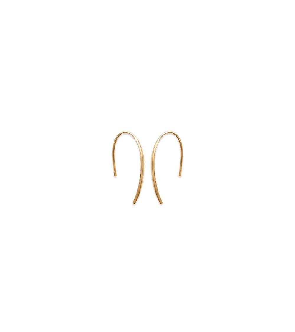 Boucles d'oreilles en plaqué or petite barre incurvée avec crochets
