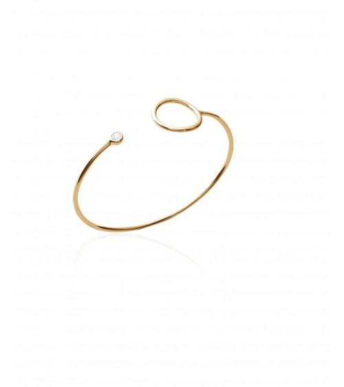 Bracelet ouvert en plaqué or avec à chaque extrémité un rond et un oxyde de zirconium (diamètre 58 cm)