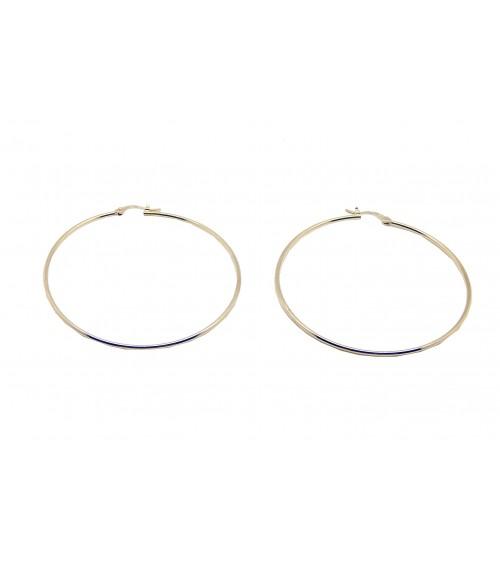 Boucles d'oreilles créoles lisses en plaqué or,  de diamètre 70 cm
