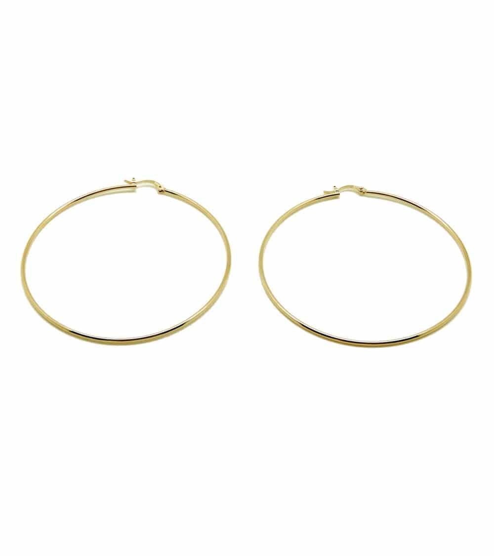 Boucles d'oreilles créoles lisses en plaqué or, en diamètre 60 cm