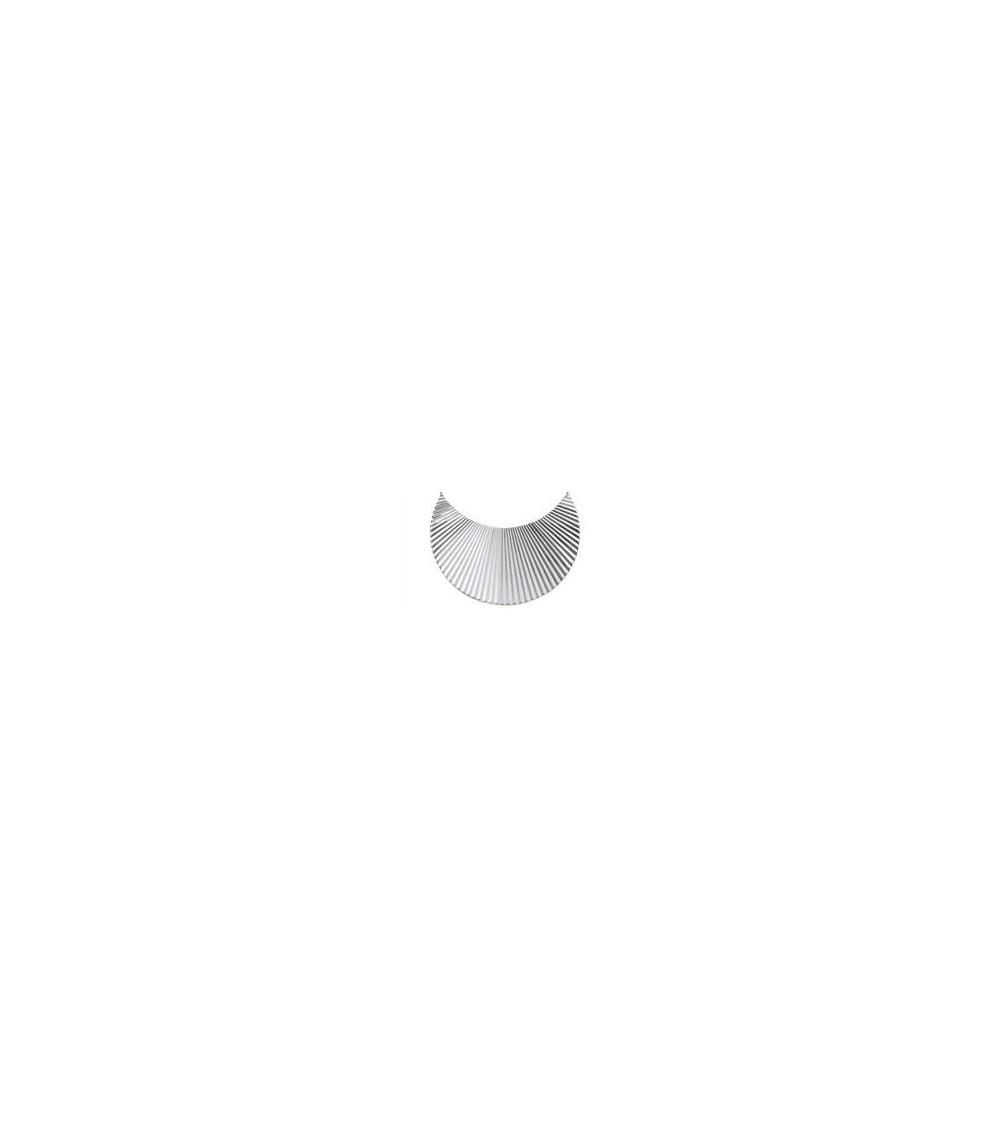 """Bracelet ouvert rigide en argent 925/1000 rhodié, motif """"lune striée"""""""