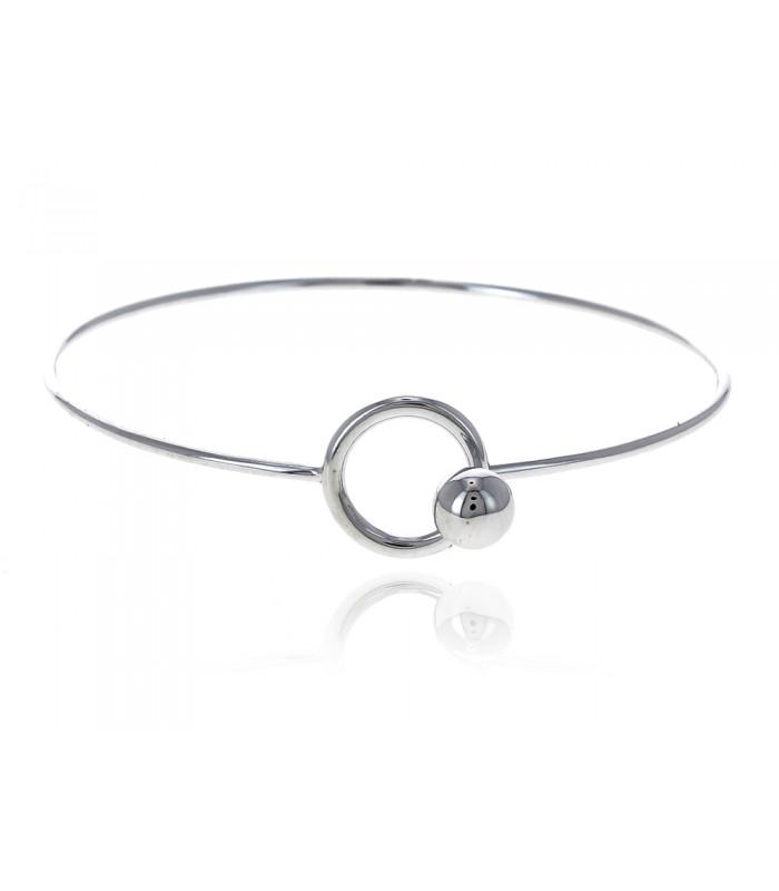 Bracelet rigide en argent 925/1000 rhodié rond et boule