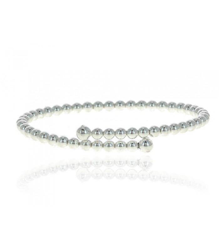"""Bracelet entrecroisé rigide """"boules"""" en argent 925/1000 rhodié"""