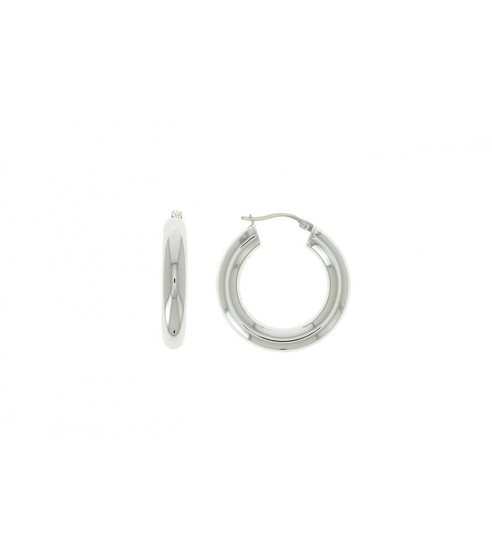 Boucles d'oreilles créoles en acier en diamètre 30 mm