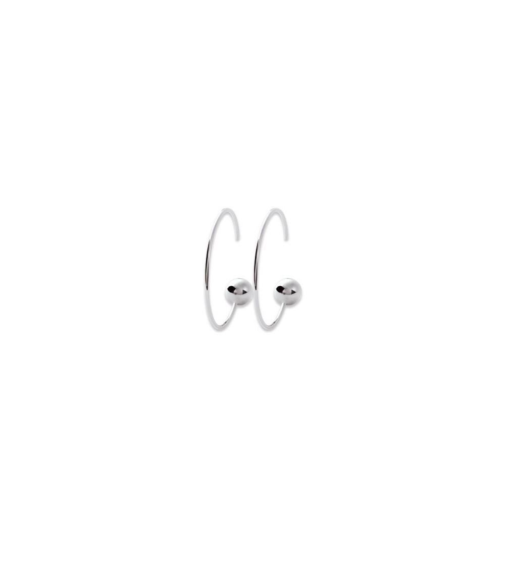 """Boucles d'oreilles """"traversantes"""" anneau avec boule en argent 925/1000 rhodié"""