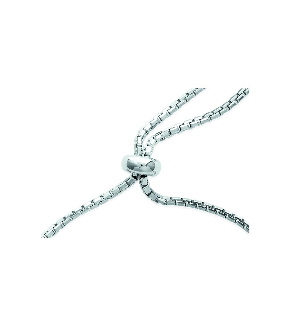 Bracelet coulissant en argent 925/1000 rhodié avec un rond serti d'oxydes de zirconium