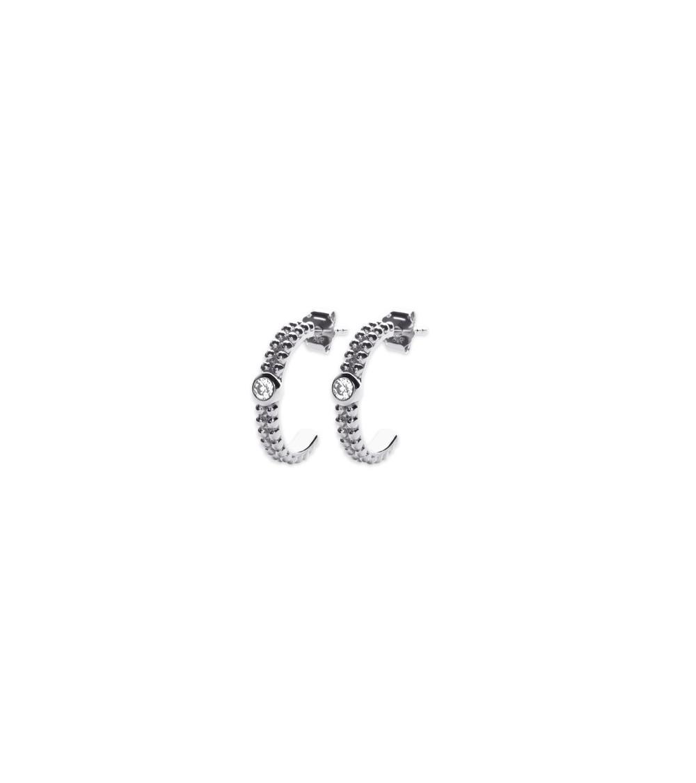 Boucles d'oreilles demi-créoles en argent 925/1000 rhodié à picots avec au centre 1 oxyde de zirconium