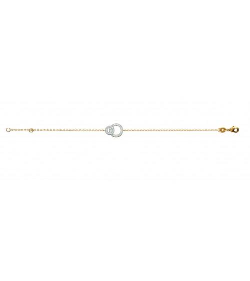 Bracelet en plaqué or avec double anneau serti d'oxydes de zirconium, en longueur 18 cm ajustable à 16 cm