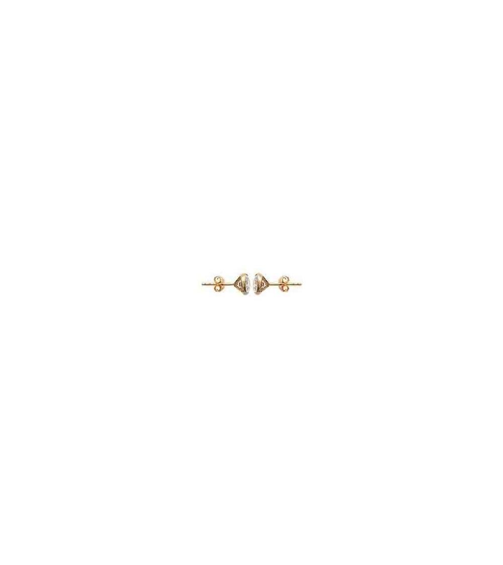 Boucles d'oreilles en plaqué or serties clos avec oxydes de zirconium blancs, avec poussettes (diamètre 6 mm)