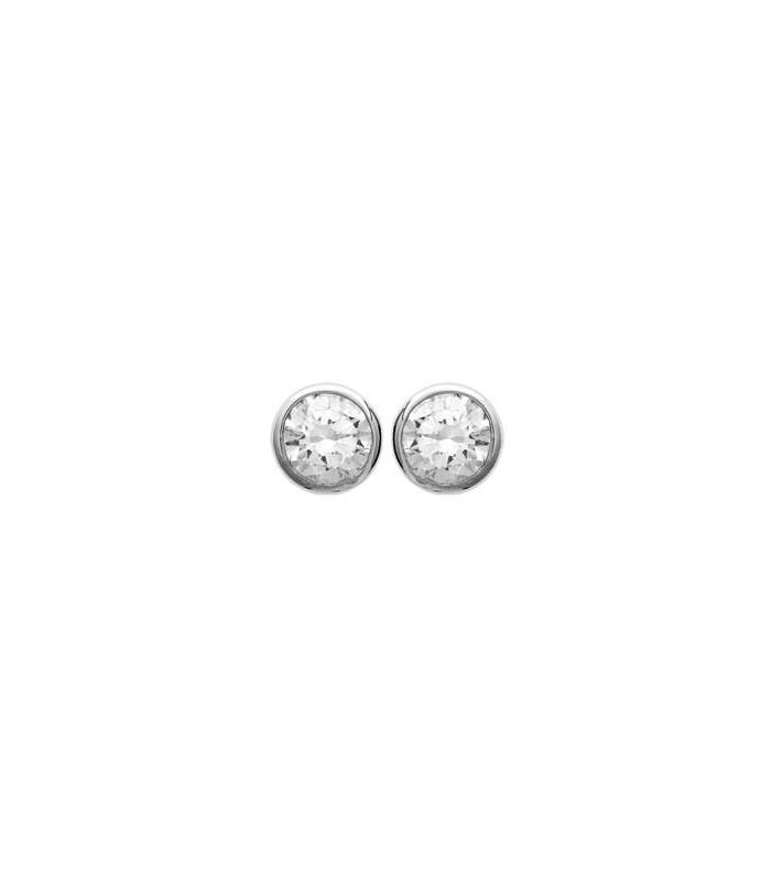 Boucles d'oreilles en argent 925/1000 rhodié serties clos avec oxydes de zirconium blancs, avec poussettes (diamètre 5 mm)