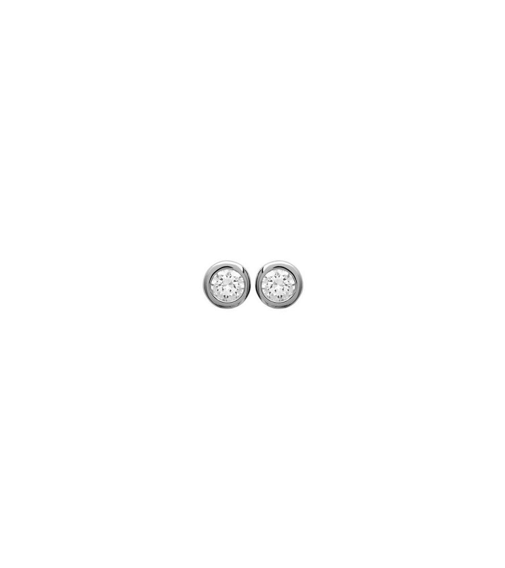 Boucles d'oreilles en argent 925/1000 rhodié serties clos avec oxydes de zirconium blancs, avec poussettes (diamètre 4 mm)