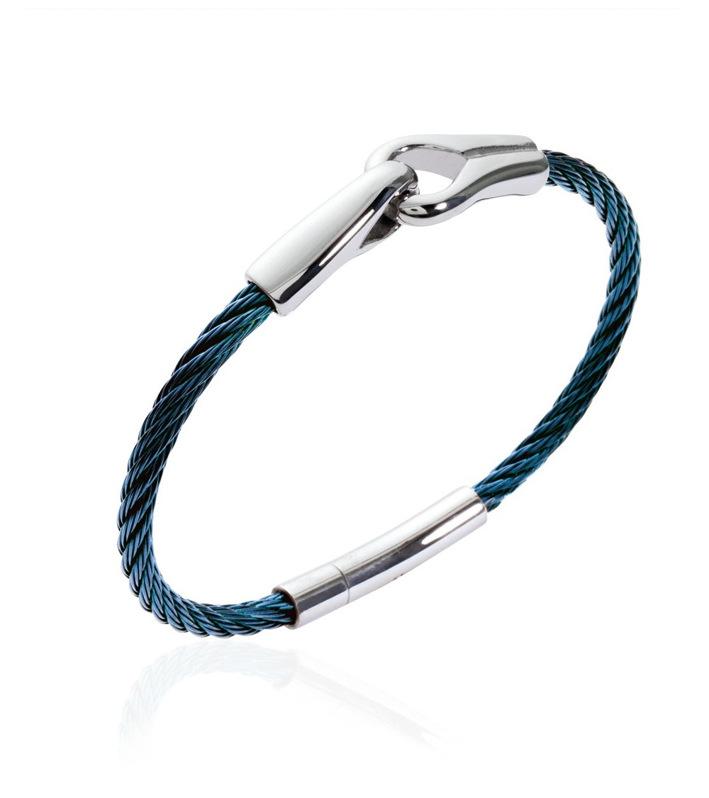 """Bracelet """"menottes"""" en acier et câble bleu (diamètre 66 mm)"""