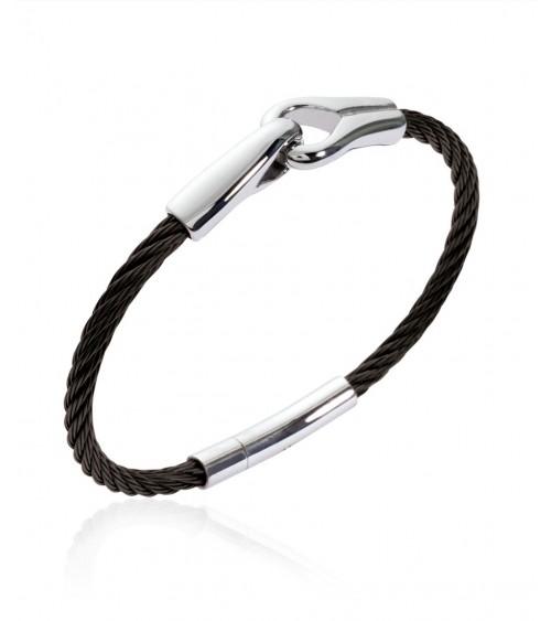"""Bracelet """"menottes"""" en acier et câble noir (diamètre 66 mm)"""