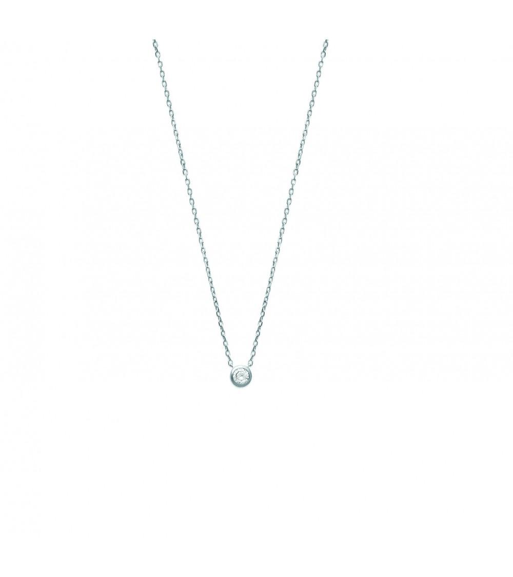 Collier ras du cou en argent 925/1000 rhodié avec 1 oxyde zirconium, en longueur 40 cm