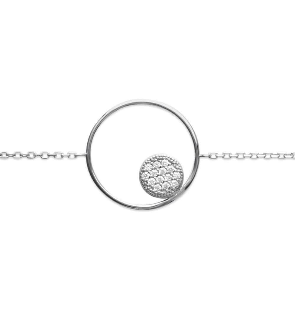 Bracelet avec argent 925/1000 rhodié, avec anneau comportant une pastille sertie d'oxydes de zirconium