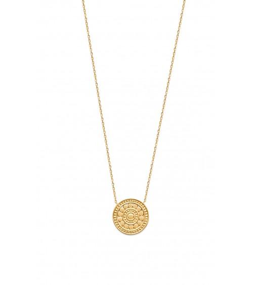 """Collier """"rond"""" en plaqué or, en longueur 45 cm ajustable"""