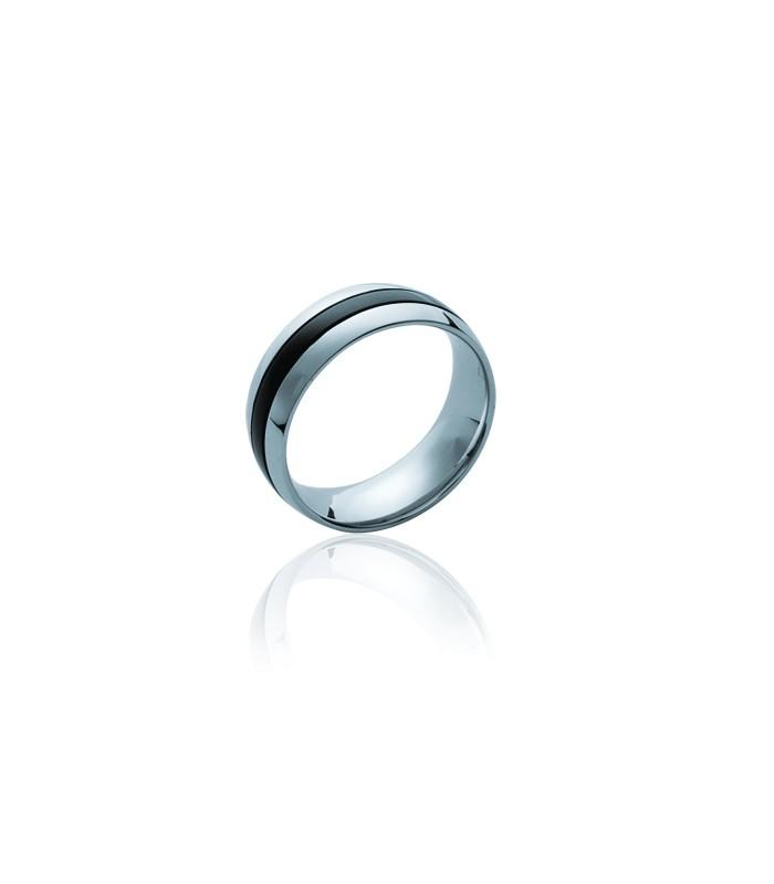 Bague anneau en acier et ruthénium