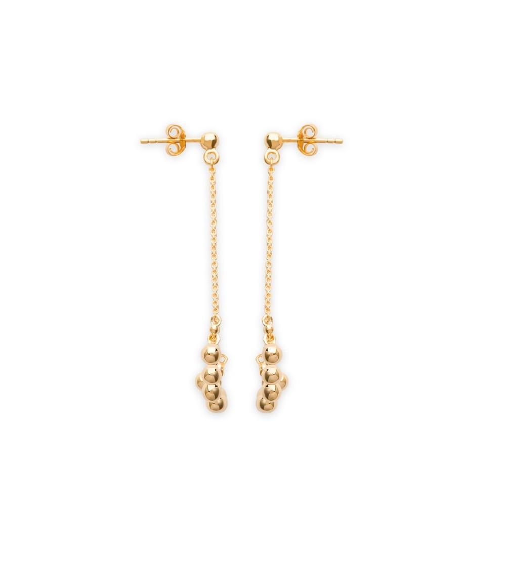 Boucles d'oreilles en plaqué or avec pampilles et chaines