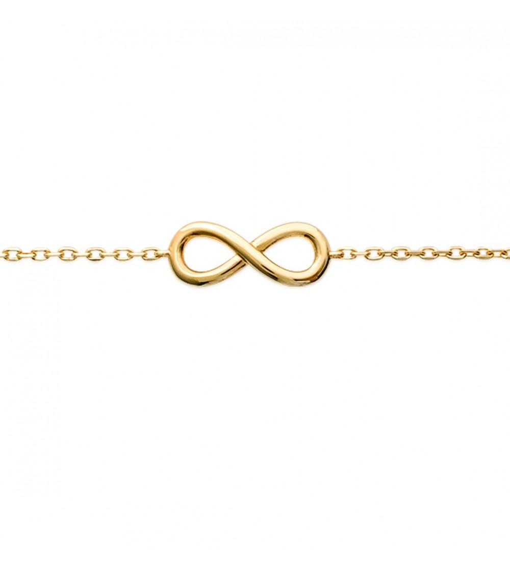 """Bracelet """"infini"""" en plaqué or, en longueur 18 cm ajustable"""