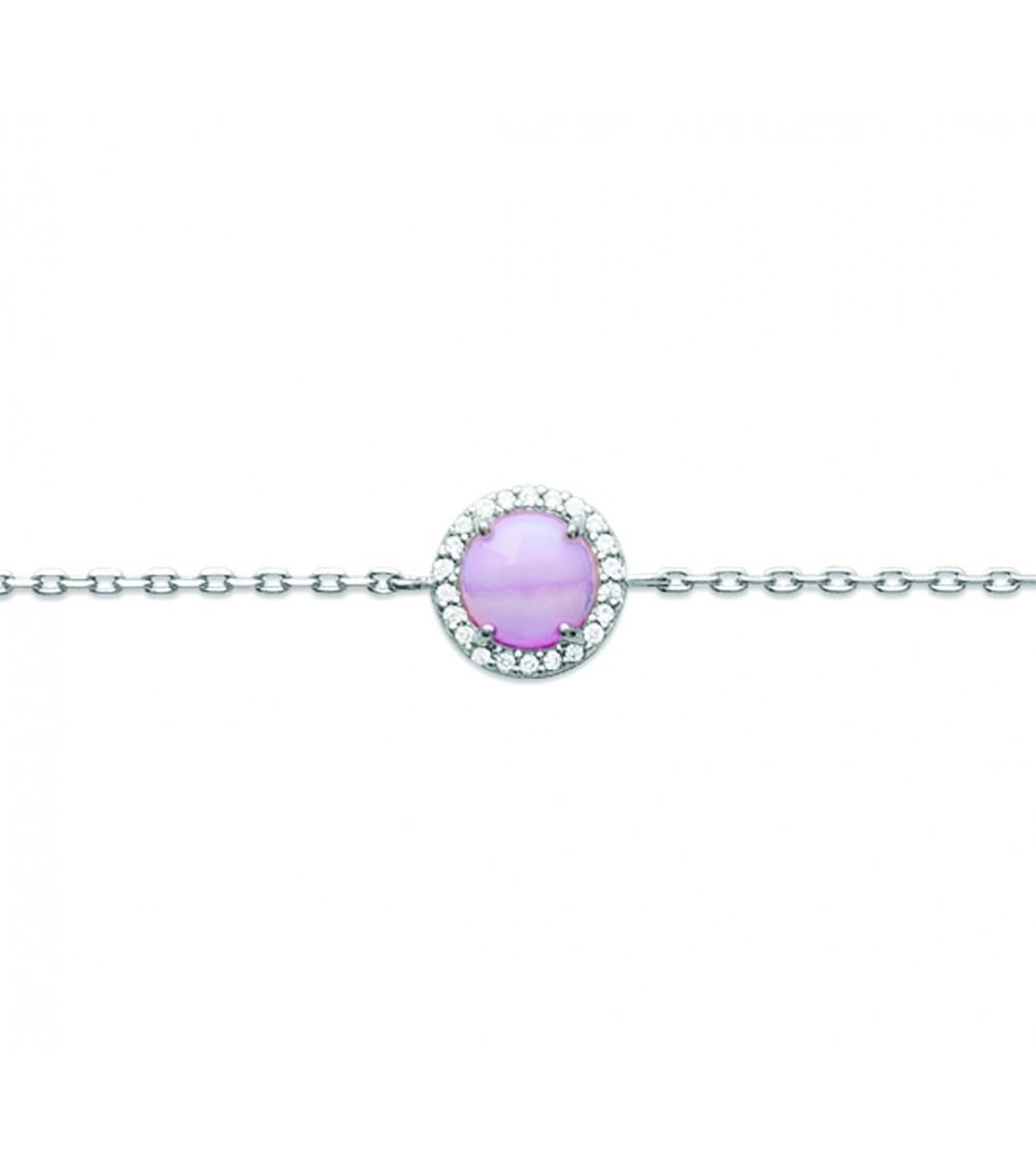 Collier en argent 925/1000 rhodié avec pastille en pierre de synthèse rose, en longueur 45 cm ajustable