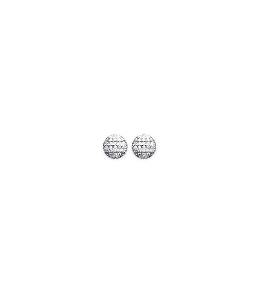"""Boucles d'oreilles en argent 925/1000 rhodié avec """"pastille"""" sertie d'oxydes de zirconium"""