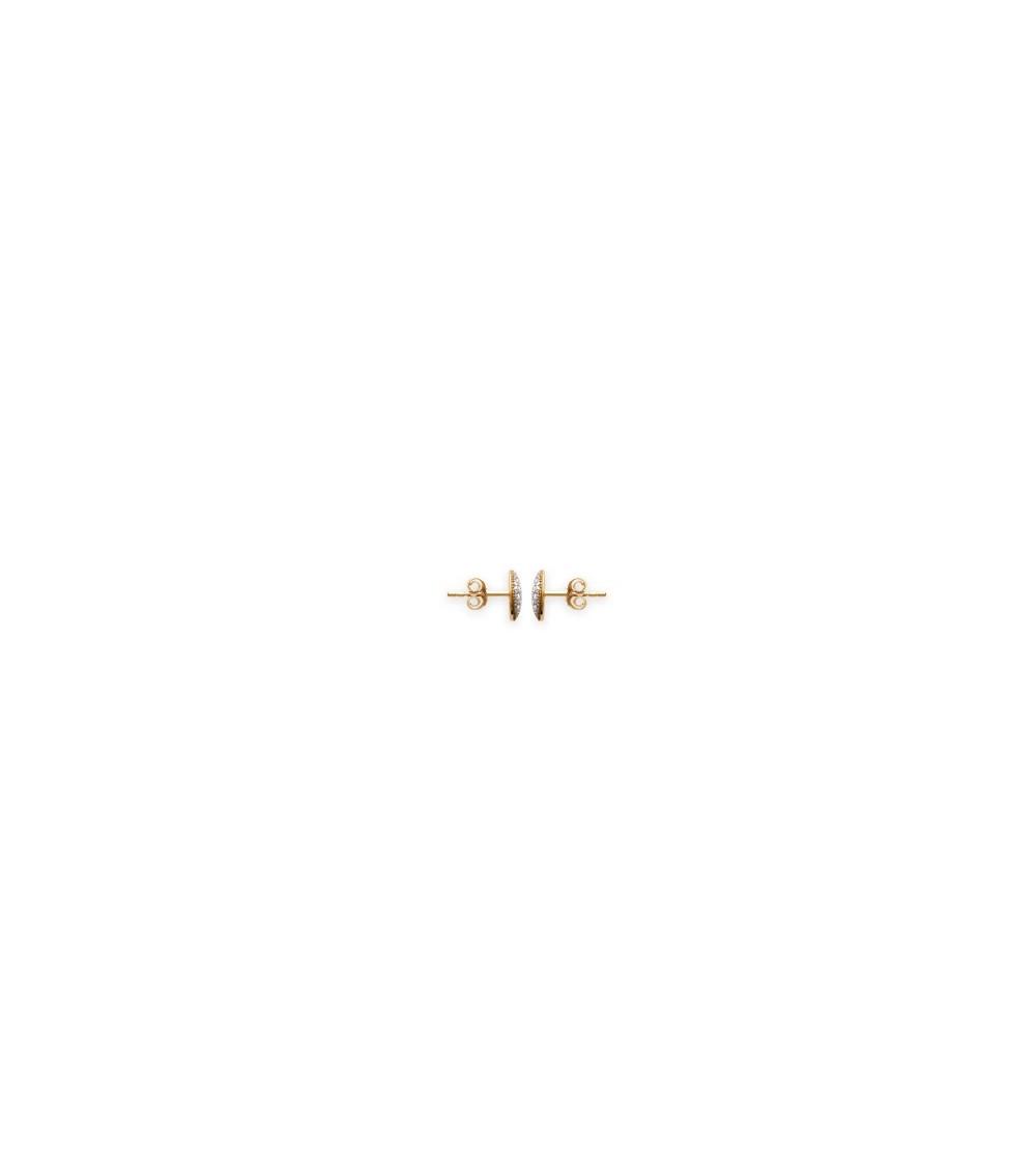 Boucles d'oreilles en plaqué or avec pastille sertie d'oxydes de zirconium