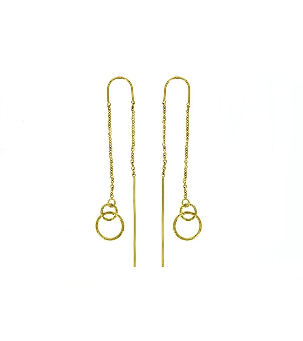 """Boucles d'oreilles """"traversantes"""" double anneau, en plaqué or"""