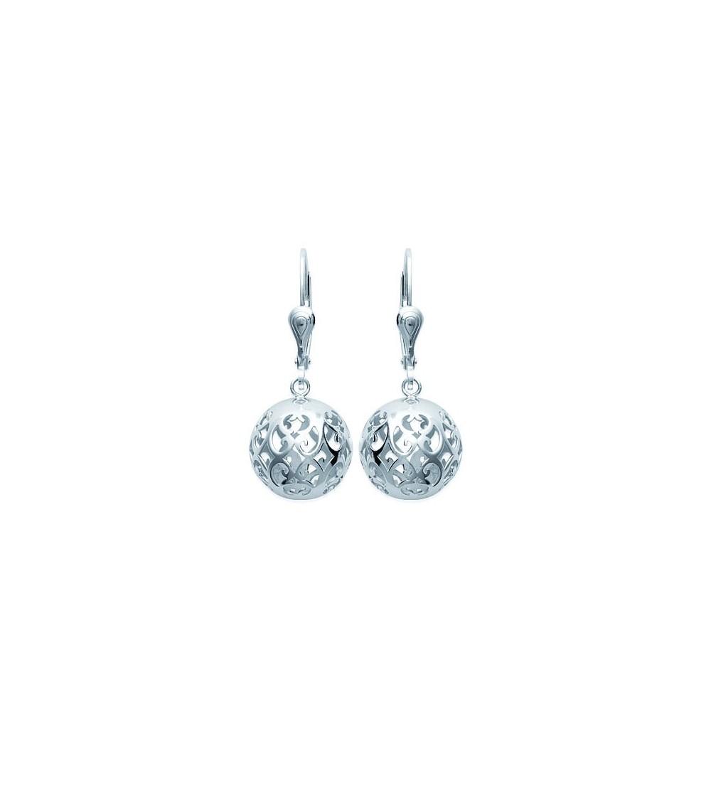 Boucles d'oreilles ajourées en argent 925/1000 rhodié avec fermeture dormeuse