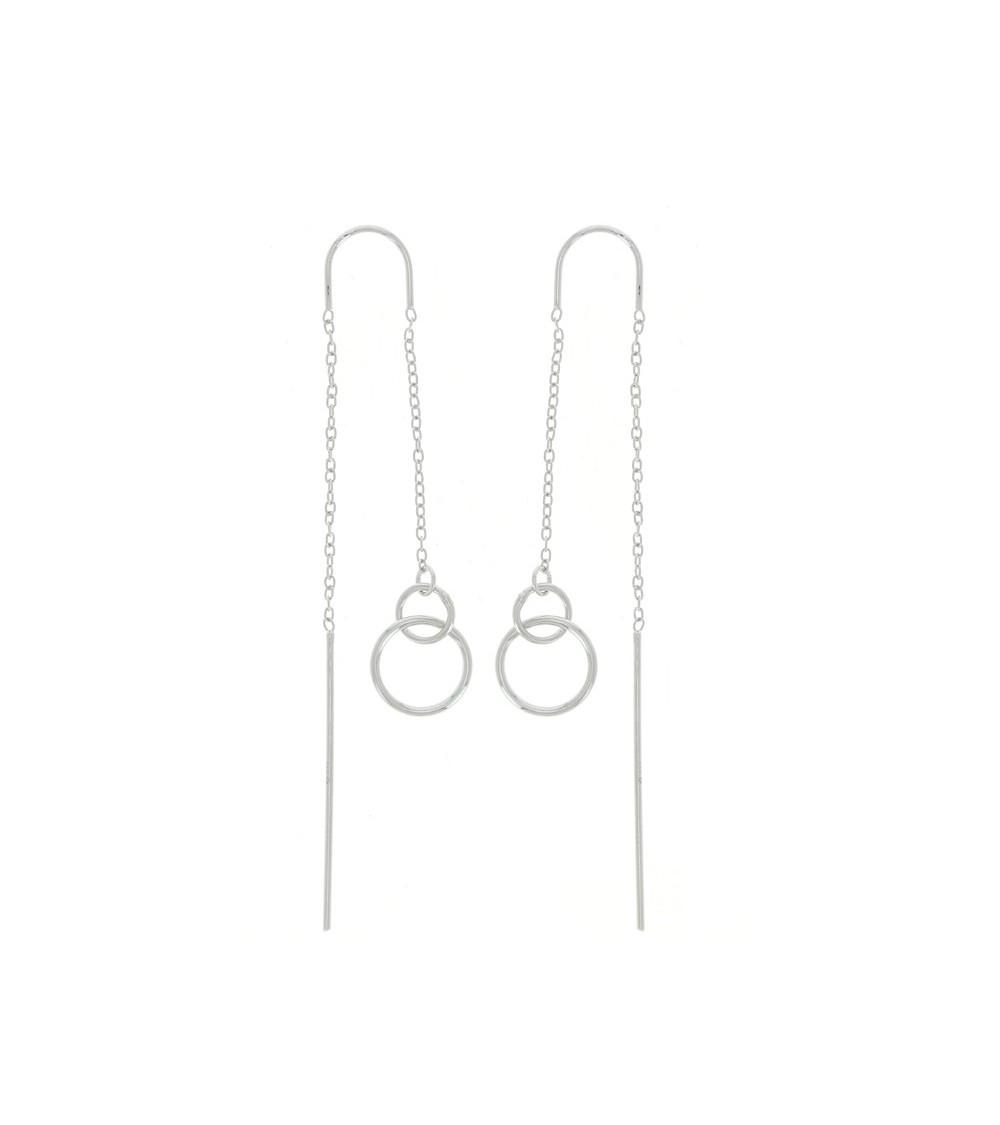 """Boucles d'oreilles """"traversantes"""" double anneau en argent 925/1000 rhodié"""