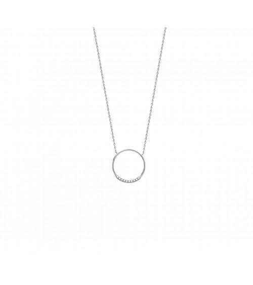 Collier avec un anneau serti pour partie d'oxydes de zirconium, en argent 925/1000 rhodié,et en longueur 45 cm ajustable à 42 cm