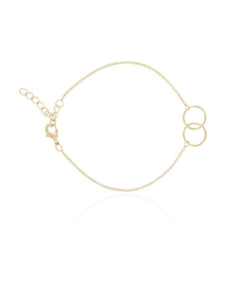Bracelet double cercle en plaqué or, en longueur 16 cm ajustable jusqu'à 19 cm