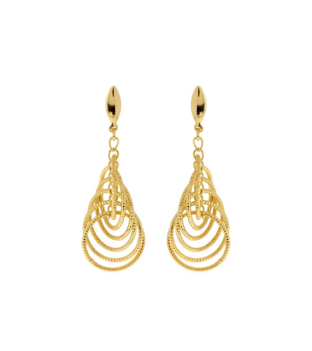 Boucles d'oreilles en plaqué or avec 6 ovales brillants avec fermeture dormeuse