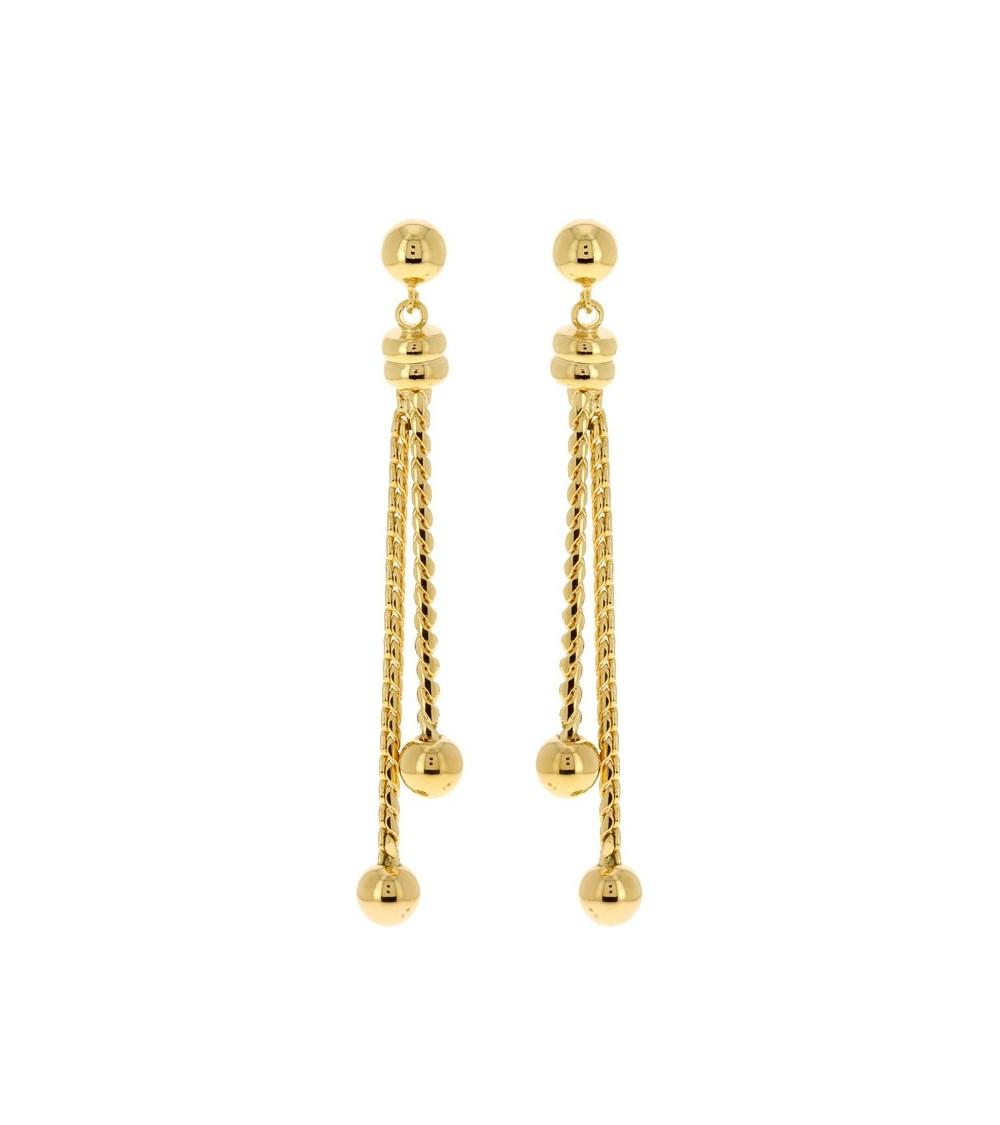 Boucles d'oreilles pendantes en plaqué or, avec boules à chaque extrémité à poussettes