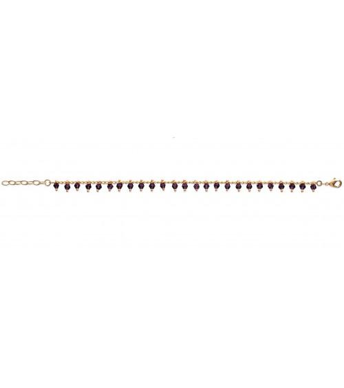 Gourmette en plaqué or avec pampille en cristal violet (longueur 180 cm ajustable)