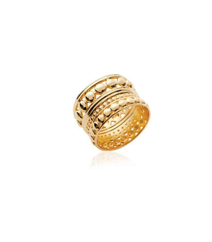 Bague anneau large en plaqué or