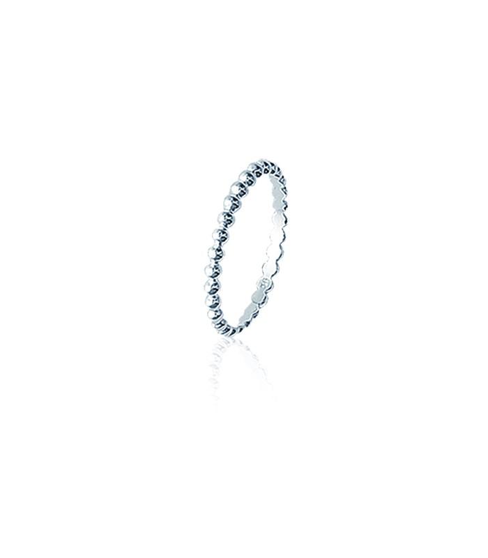 Bague anneau petites boules en argent 925/1000 rhodié